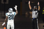 Carolina Panthers running back Mike Davis (28) celebrates in end zone his touchdown against the Atlanta Falcons during the first half of an NFL football game, Sunday, Oct. 11, 2020, in Atlanta. (AP Photo/Brynn Anderson)