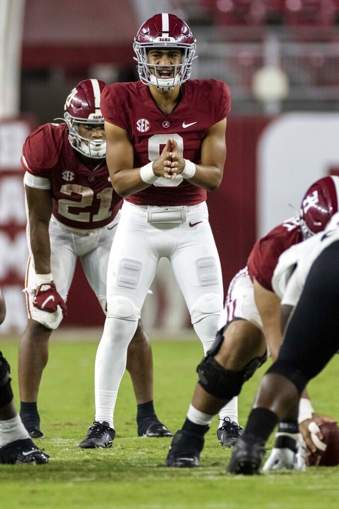 Alabama quarterback Bryce Young (9) runs the offense against Southern Mississippi during the second half of an NCAA college football game, Saturday, Sept. 25, 2021, in Tuscaloosa, Ala. (AP Photo/Vasha Hunt)