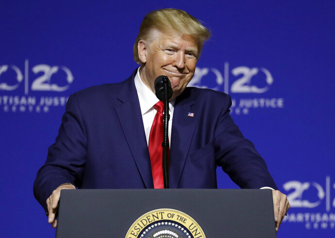 President Donald Trump speaks at the 2019 Second Step Presidential Justice Forum at Benedict College, Friday, Oct. 25, 2019, in Columbia, S.C. (AP Photo/Evan Vucci)