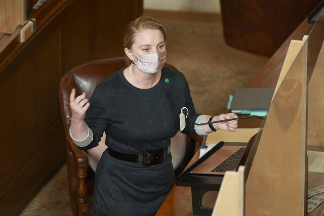 Nebraska state Sen. Megan Hunt of Omaha speaks in Lincoln, Neb., Wednesday, July 29, 2020, during debate on a bill that would ban dilation and evacuation abortions, a second-trimester procedure that opponents refer to as