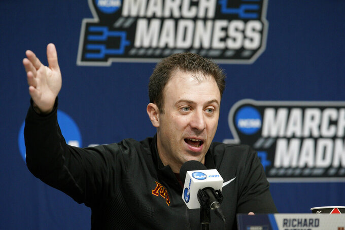Minnesota coach Richard Pitino speaks during a news conference at the NCAA men's college basketball tournament in Des Moines, Iowa, Friday, March 22, 2019. Minnesota faces Michigan State in the second round on Saturday. (AP Photo/Nati Harnik)
