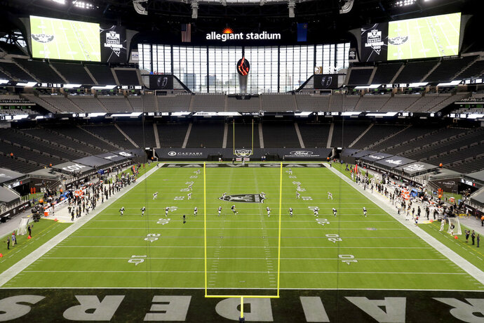The Las Vegas Raiders kick off to the New Orleans Saints to start an NFL football game, Monday, Sept. 21, 2020, in Las Vegas. (AP Photo/Isaac Brekken)