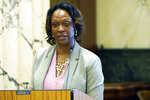 Felicia Gavin, chief operating officer with the Mississippi Department of Education, reacts to lawmakers questioning during a Senate Education Committee hearing at the Capitol in Jackson, Miss., Wednesday, Sept. 15, 2021. (AP Photo/Rogelio V. Solis)