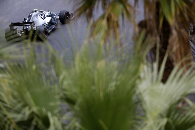 Mercedes driver Valtteri Bottas of Finland steers his car during the second practice session at the Monaco racetrack, in Monaco, Thursday, May 23, 2019. The Formula one race will be held on Sunday. (AP Photo/Luca Bruno)