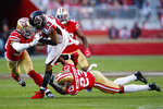 Atlanta Falcons wide receiver Russell Gage (83) runs against San Francisco 49ers middle linebacker Fred Warner, left, and cornerback Ahkello Witherspoon (23) during the first half of an NFL football game in Santa Clara, Calif., Sunday, Dec. 15, 2019. (AP Photo/John Hefti)