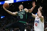 Boston Celtics' Jayson Tatum (0) shoots against Los Angeles Clippers' Ivica Zubac (40) during the first half of an NBA basketball game in Boston, Saturday, Feb. 9, 2019. (AP Photo/Michael Dwyer)