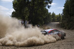 Ott Tanak of Estonia and co-driver Martin Jarveoja with the Hyundai i20 Coupe WRC car compete in the WRC Acropolis Rally at the stage of Aghii Theodori, west of Athens, on Friday, Sept. 10, 2021. The World Rally Championship returned to Greece after an eight-year absence. (AP Photo/Petros Giannakouris)