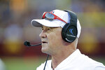 Fresno State head coach Jeff Tedford works the sideline against Minnesota in the first quarter of an NCAA college football game, Saturday, Sept. 8, 2018, in Minneapolis. (AP Photo/Andy Clayton-King)