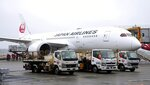 A plane waits on tarmac for loading the cargos before its departure for Taiwan, at Narita International Airport in Narita, east of Tokyo, Friday, June 4, 2021.  Japan is donating 1.24 million doses of AstraZeneca vaccine to Taiwan to help the island fight its latest resurgence of the COVID-19 cases, as Tokyo, despite its painfully slow vaccine rollouts at home, tries to play a greater role in global vaccination distribution.(Sadayuki Goto/Kyodo News via AP)