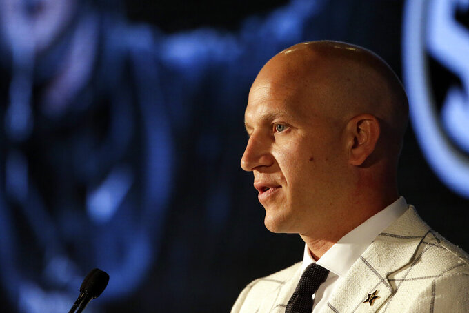 Vanderbilt head coach Clark Lea speaks to reporters during the NCAA college football Southeastern Conference Media Days Wednesday, July 21, 2021, in Hoover, Ala. (AP Photo/Butch Dill)