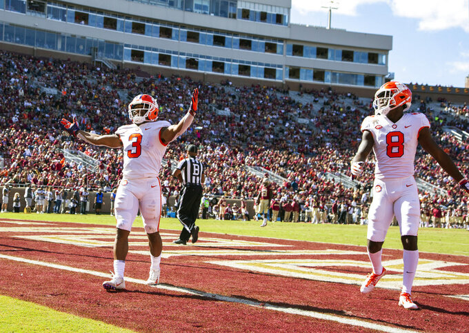 Clemson wide receiver Amari Rogers celebrates his 68-yard reception and run for a touchdown in the second half of an NCAA college football game against Florida State in Tallahassee, Fla., Saturday, Oct.27, 2018. Clemson defeated Florida State 59-10. (AP Photo/Mark Wallheiser)