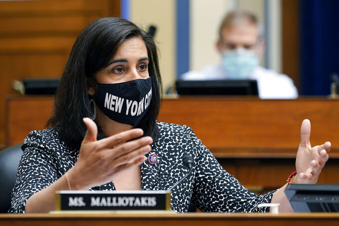 """FILE - In this April 15, 2021, file photo, Rep. Nicole Malliotakis, R-N.Y., speaks during a House Select Subcommittee on the Coronavirus Crisis hearing on Capitol Hill in Washington. Every Republican in Congress voted against the $1.9 trillion """"American Rescue Plan,"""" which President Joe Biden signed into law three months ago. But ever since, Republicans from New York and Indiana to Texas and Washington state have promoted elements of legislation that would not exist if they had their way. (AP Photo/Susan Walsh, Pool, File)"""