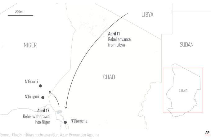 Map locates rebel movement.