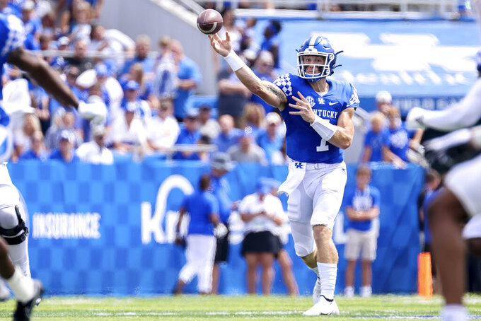 Kentucky quarterback Will Levis (7) throws a pass during the first half of an NCAA college football game against Louisiana-Monroe in Lexington, Ky., Saturday, Sept. 4, 2021. (AP Photo/Michael Clubb)