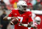 In this Sept. 8, 2018 photo Ohio State quarterback Dwayne Haskins plays against Rutgers during an NCAA college football game in Columbus, Ohio. The front-runners have clearly been established in the Heisman race, but the question now is who else can emerge with a late rush? (AP Photo/Jay LaPrete)