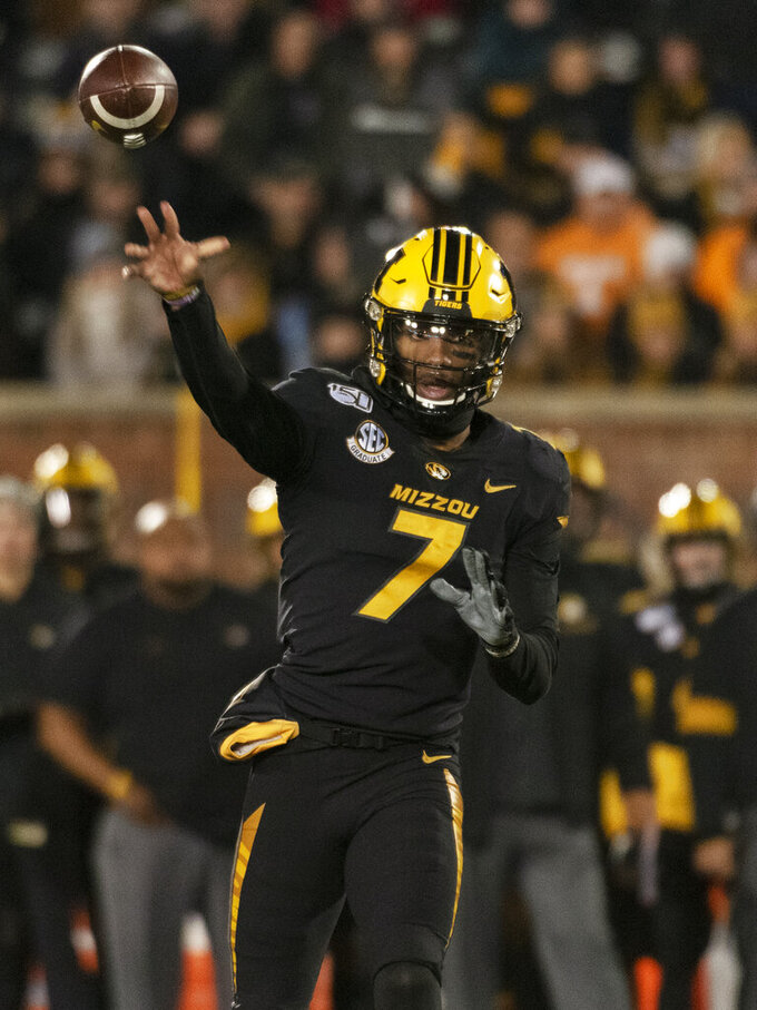 Missouri quarterback Kelly Bryant throws a pass during the first quarter of the team's NCAA college football game against Tennessee on Saturday, Nov. 23, 2019, in Columbia, Mo. (AP Photo/L.G. Patterson)