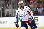 Washington Capitals left wing Alex Ovechkin reacts after scoring a goal during the second period of an an NHL hockey game against the Florida Panthers, Thursday, Nov. 7, 2019, in Sunrise, Fla. (AP Photo/Lynne Sladky)