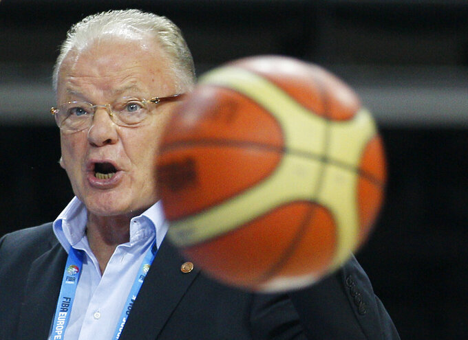 In this Sept. 17, 2011 file photo, Serbia's Head Coach Dusan Ivkovic reacts during the EuroBasket European Basketball Championship 7th to 8th position classification match against Slovenia, in Kaunas, Lithuania. Serbian Basketball Federation says famous coach Dusan Ivkovic has died at the age of 77. Serbian media said Ivkovic died in a Belgrade hospital after a lung failure on Thursday, Sept. 16, 2021. During his 46-year coaching career, Ivkovic led teams such as Partizan Belgrade, CSKA Moscow as well as Greek teams Aris, PAOK, Panionios, Olympiacos, AEK, as well as the Yugoslav and Serbian national teams. (AP Photo/Darko Vojinovic, File)