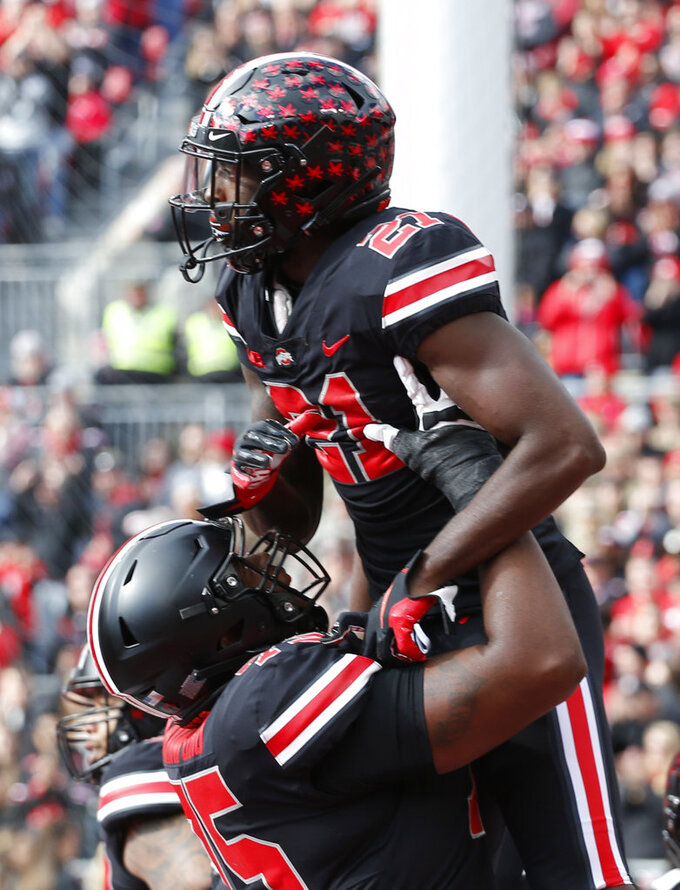 Ohio State receiver Parris Campbell celebrates his touchdown against Nebraska during the second half of an NCAA college football game Saturday, Nov. 3, 2018, in Columbus, Ohio. Ohio State beat Nebraska 36-31. (AP Photo/Jay LaPrete)
