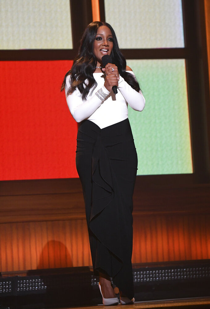 Host Mickey Guyton speaks at the 56th annual Academy of Country Music Awards on Sunday, April 18, 2021, at the Ryman Auditorium in Nashville, Tenn. (Photo by Amy Harris/Invision/AP)