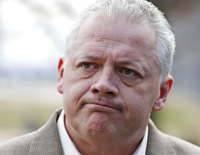 FILE - In this Tuesday, Jan. 31, 2017, file photo, Republican gubernatorial candidate Denver Riggleman listens to a question during a news conference at the Capitol in Richmond, Va. U.S. Rep. Denver Riggleman lost a GOP convention Saturday, June 13, 2020, that was done via drive-thru because of the coronavirus pandemic. He was defeated by Bob Good, a former official in the athletics department at Liberty University. (AP Photo/Steve Helber, File)