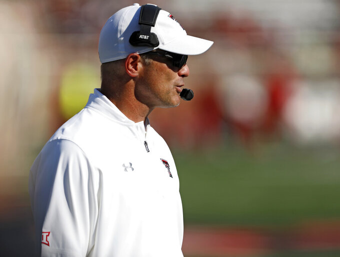 Texas Tech coach Matt Wells talks to his team during the second half of the team's NCAA college football game against Montana State, Saturday, Aug. 31, 2019, in Lubbock, Texas. (Brad Tollefson/Lubbock Avalanche-Journal via AP)