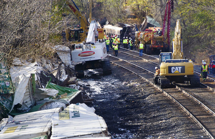 Federal Railroad Administration safety officials, Norfolk Southern Railway personnel and contractors work on clearing the track after a derailment Saturday, Nov. 9, 2019, in Hempfield Township in Westmoreland County, Pa. (Pam Panchak/Pittsburgh Post-Gazette via AP)
