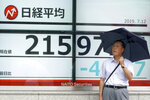 A man stands by an electronic stock board showing Japan's Nikkei 225 index at a securities firm in Tokyo Friday, July 12, 2019. Shares in Asia are mostly higher after a turbulent day on Wall Street ended with the Dow Jones Industrial Average closing above 27,000 for the first time. (AP Photo/Eugene Hoshiko)
