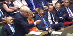 In this grab taken from video, Britain's newly appointed Prime Minister Boris Johnson gestures as he issues a statement to the House of Commons, in London, Thursday July 25, 2019. Johnson has called on the European Union to