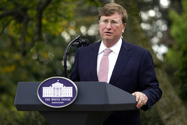 Mississippi Gov. Tate Reeves, speaks during an event with President Donald Trump about coronavirus testing in the Rose Garden of the White House, Monday, Sept. 28, 2020, in Washington. (AP Photo/Evan Vucci)