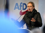 Alice Weidel, co-leader of the Alternative for Germany party (AfD), delivers a speech during an election campaign event of the AfD in front of the Charlottenburg palace in Berlin, Germany, Friday, Sept. 24, 2021. (AP Photo/Michael Sohn)