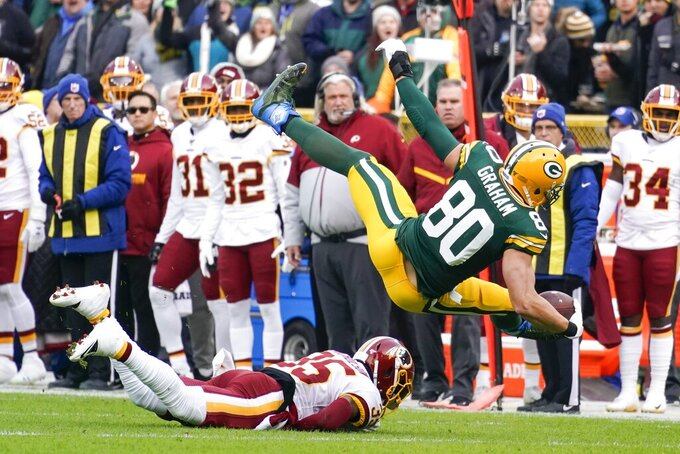 Green Bay Packers' Jimmy Graham is stopped by Washington Redskins' Montae Nicholson after a catch during the first half of an NFL football game Sunday, Dec. 8, 2019, in Green Bay, Wis. (AP Photo/Morry Gash)