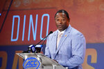 Syracuse head coach Dino Babers speaks during the Atlantic Coast Conference NCAA college football media day in Charlotte, N.C., Wednesday, July 17, 2019. (AP Photo/Chuck Burton)