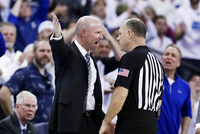Seton Hall coach Kevin Willard complains of a call during the first half of an NCAA college basketball game against Creighton in Omaha, Neb., Saturday, March 7, 2020. (AP Photo/Nati Harnik)
