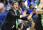 Utah Valley head coach Mark Madsen directs his team during the first half of an NCAA college basketball game against Kentucky in Lexington, Ky., Monday, Nov. 18, 2019. (AP Photo/James Crisp)