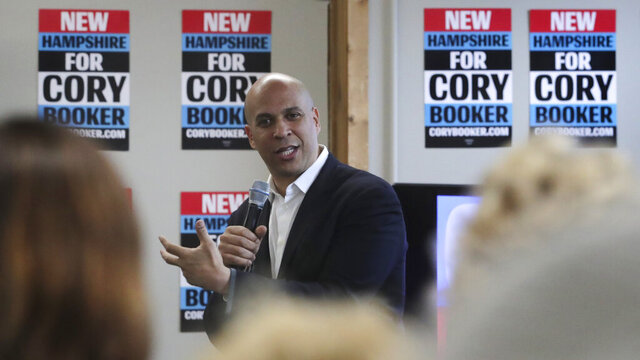 Democratic presidential candidate Sen. Cory Booker, D-N.J., gestures during a campaign stop in Nashua, N.H., Friday, Jan. 3, 2020. (AP Photo/Charles Krupa)