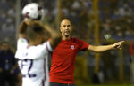 United States's coach Gregg Berhalter gives instructions to his players during a qualifying soccer match against El Salvador for the FIFA World Cup Qatar 2022 at Cuscatlan stadium in San Salvador, El Salvador, Thursday, Sept. 2, 2021. (AP Photo/Moises Castillo)