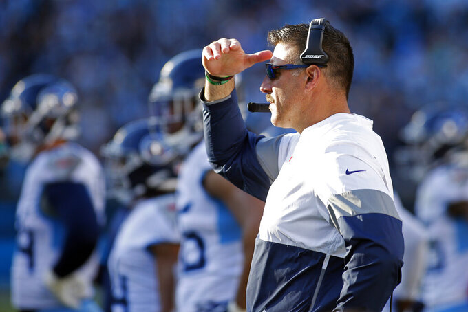 Tennessee Titans head coach Mike Vrabel looks on during the second half of an NFL football game against the Carolina Panthers in Charlotte, N.C., Sunday, Nov. 3, 2019. (AP Photo/Brian Blanco)