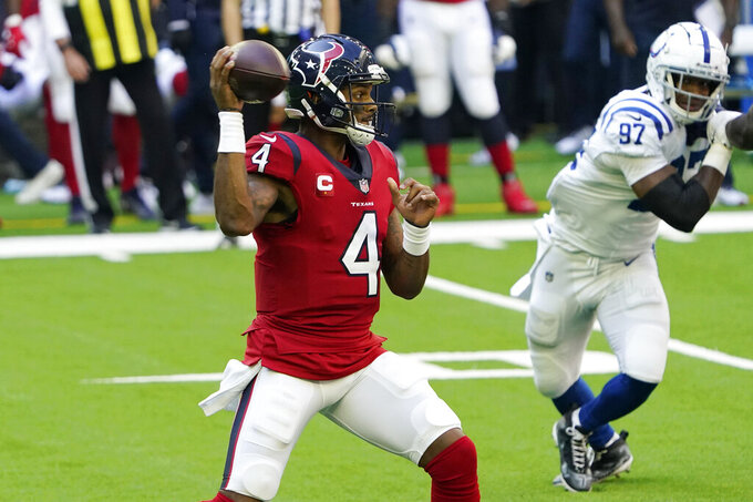 Houston Texans quarterback Deshaun Watson (4) throws against the Indianapolis Colts during the first half of an NFL football game Sunday, Dec. 6, 2020, in Houston. (AP Photo/David J. Phillip)