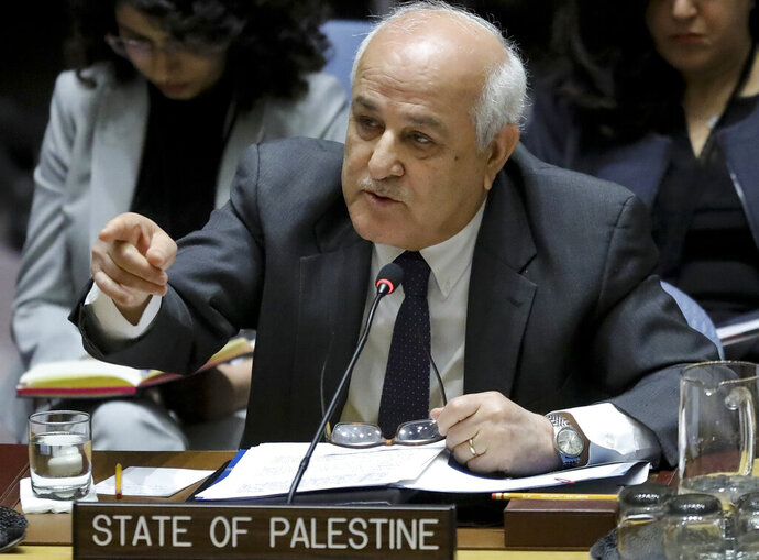 FILE - In this Tuesday, March 26, 2019 file photo, Palestinian Ambassador to the United Nations Riyad Mansour address a U.N. Security Council meeting on the Palestinian and Israeli conflict at U.N. headquarters. Israel wants the United Nations to recognize as refugees hundreds of thousands of Jews who fled Arab and Muslim countries in the last century. (AP Photo/Bebeto Matthews, File)