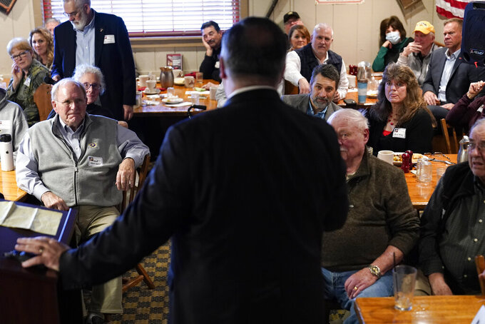 Audience members listen as former Secretary of State Mike Pompeo speaks at the West Side Conservative Club, Friday, March 26, 2021, in Urbandale, Iowa. (AP Photo/Charlie Neibergall)