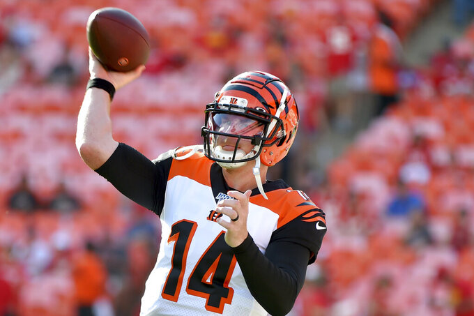 Cincinnati Bengals quarterback Andy Dalton warms up before an NFL preseason football game against the Kansas City Chiefs in Kansas City, Mo., Saturday, Aug. 10, 2019. (AP Photo/Ed Zurga)