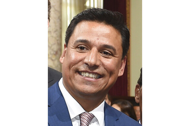 FILE - In this Aug. 24, 2016, file photo, Los Angeles City Councilman Jose Huizar is seen at an event at Los Angeles City Hall. Huizar was arrested in June 2020 on allegations he masterminded a $1.5 million pay-to-play scheme tied to the approval of large building projects. Prosecutors say the scheme sought to illegally profit from development of the city's burgeoning downtown district. Federal authorities announced new charges and additional defendants Monday, Nov. 30, 2020, in the wide-ranging corruption case against the Los Angeles city councilman and his alleged associates. (Walt Mancini/The Orange County Register via AP, File)