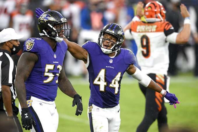 Baltimore Ravens cornerback Marlon Humphrey (44) reacts with defensive end Jihad Ward (53) after a play against the Cincinnati Bengals during the second half of an NFL football game, Sunday, Oct. 11, 2020, in Baltimore. (AP Photo/Nick Wass)
