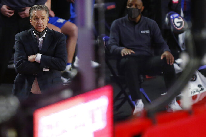 Kentucky coach John Calipari reacts during the team's NCAA college basketball game against Georgia on Wednesday, Jan. 20, 2021, in Athens, Ga. (Joshua L. Jones/Athens Banner-Herald via AP)