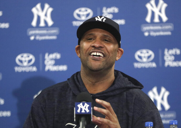 New York Yankees starting pitcher CC Sabathia makes a statement at a news conference at the Yankees spring training baseball facility, Saturday, Feb. 16, 2019, in Tampa, Fla. Sabathia announced he will retire after the 2019 season. (AP Photo/Lynne Sladky)