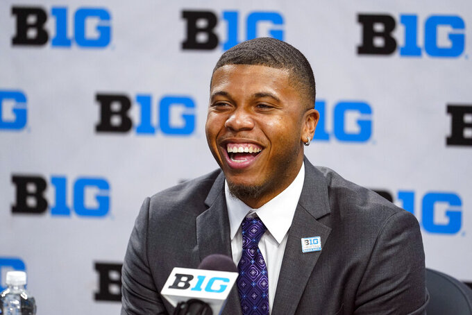 Penn State's Myles Dread speaks during the Big Ten NCAA college basketball media days in Indianapolis, Friday, Oct. 8, 2021. (AP Photo/Michael Conroy)