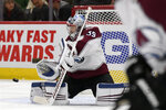 Colorado Avalanche goalie Pavel Francouz (39) of The Czech Republic, makes a save during the second period of an NHL hockey game against the Chicago Blackhawks, Friday, Nov. 29, 2019, in Chicago. (AP Photo/Paul Beaty)
