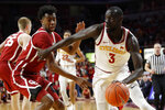 Iowa State guard Marial Shayok drives past Oklahoma guard Jamal Bieniemy, left, during the second half of an NCAA college basketball game, Monday, Feb. 25, 2019, in Ames, Iowa. Shayok scored 21 points as Iowa State won 78-61. (AP Photo/Charlie Neibergall)