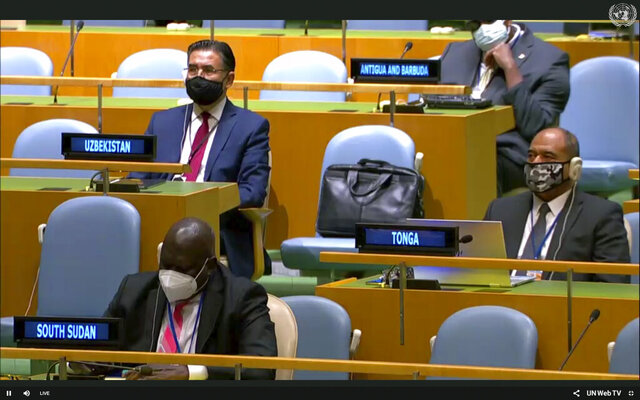 In this image made from UNTV, representatives of different countries listen to speakers during the 75th session of the United Nations General Assembly, Tuesday, Sept. 22, 2020, at U.N. headquarters in New York. This year's annual gathering of world leaders at U.N. headquarters is almost entirely